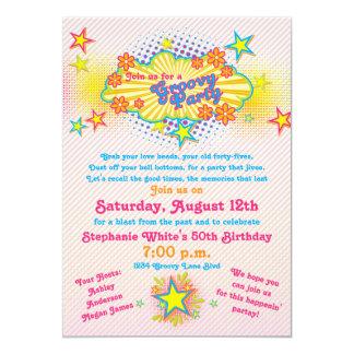 fiesta de cumpleaños del flower power maravilloso invitación 12,7 x 17,8 cm