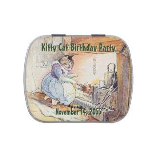 Fiesta de cumpleaños del gato del gatito latas de caramelos