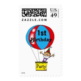 Fiesta de cumpleaños del globo del aire caliente sellos