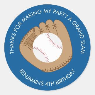 Fiesta de cumpleaños del guante de béisbol pegatina redonda