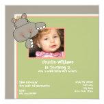 Fiesta de cumpleaños del hipopótamo invitaciones personalizada