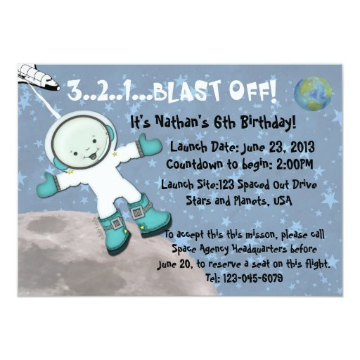"""Fiesta de cumpleaños del hombre del espacio invitación 5"""" x 7"""""""