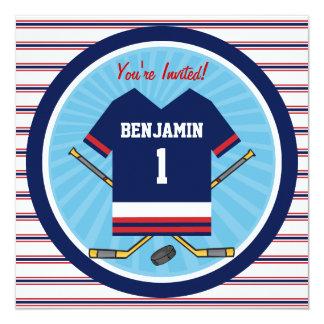 Fiesta de cumpleaños del jersey V2 del hockey Invitación 13,3 Cm X 13,3cm