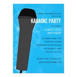 Fiesta de cumpleaños del Karaoke de la roca azul Invitación 13,9 X 19,0 Cm