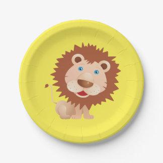 Fiesta de cumpleaños del león del circo plato de papel de 7 pulgadas