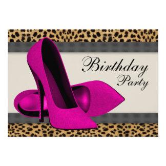 Fiesta de cumpleaños del leopardo de las rosas fue invitaciones personales