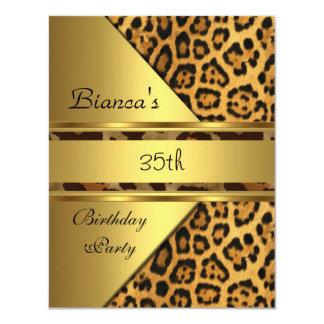 Fiesta de cumpleaños del leopardo del oro 35ta invitación 10,8 x 13,9 cm