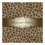 Fiesta de cumpleaños del leopardo del oro décimo invitación 13,3 cm x 13,3cm