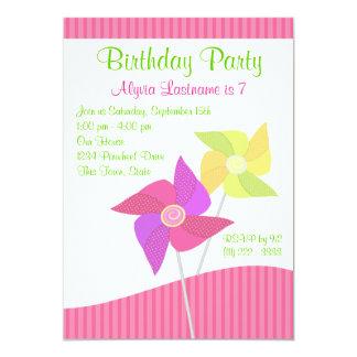 """Fiesta de cumpleaños del molinillo de viento invitación 5"""" x 7"""""""