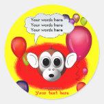 Fiesta de cumpleaños del mono pegatina redonda
