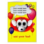 Fiesta de cumpleaños del mono tarjetón
