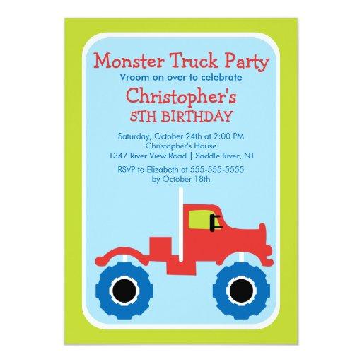 """Fiesta de cumpleaños del monster truck para los invitación 5"""" x 7"""""""