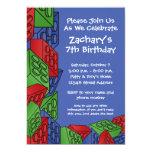 Fiesta de cumpleaños del muchacho - bloques huecos anuncios