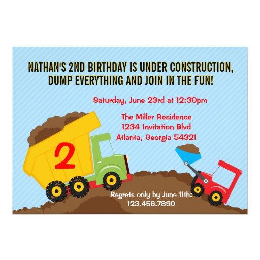 Fiesta de cumpleaños del muchacho de la construcci anuncios personalizados