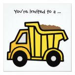 Fiesta de cumpleaños del muchacho del camión invitación 13,3 cm x 13,3cm