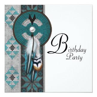 """Fiesta de cumpleaños del nativo americano de las invitación 5.25"""" x 5.25"""""""