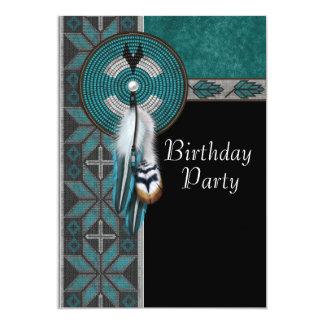 """Fiesta de cumpleaños del nativo americano de las invitación 5"""" x 7"""""""
