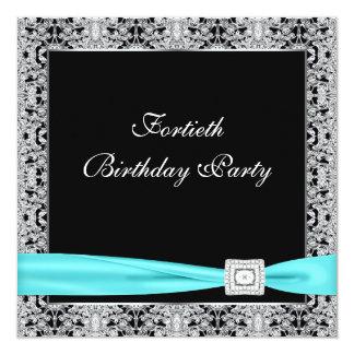 """Fiesta de cumpleaños del negro con clase azul del invitación 5.25"""" x 5.25"""""""