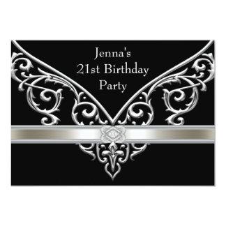 """Fiesta de cumpleaños del negro de la mujer 21ra invitación 5"""" x 7"""""""
