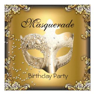 Fiesta de cumpleaños del negro del oro de la invitación 13,3 cm x 13,3cm