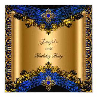 """Fiesta de cumpleaños del negro del oro del azul invitación 5.25"""" x 5.25"""""""