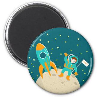 Fiesta de cumpleaños del niño del astronauta imán redondo 5 cm