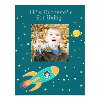 Fiesta de cumpleaños del niño del astronauta invitación 10,8 x 13,9 cm