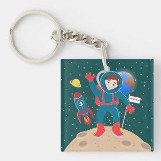Fiesta de cumpleaños del niño del astronauta llavero cuadrado acrílico a doble cara