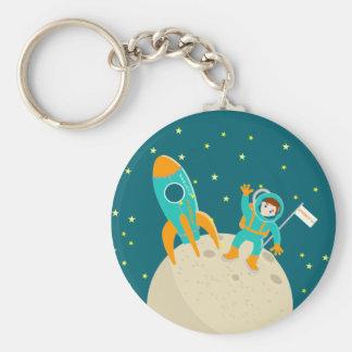 Fiesta de cumpleaños del niño del astronauta llavero redondo tipo pin