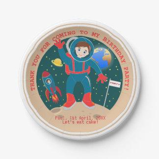 Fiesta de cumpleaños del niño del astronauta platos de papel