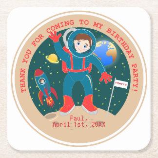Fiesta de cumpleaños del niño del astronauta posavasos personalizable cuadrado