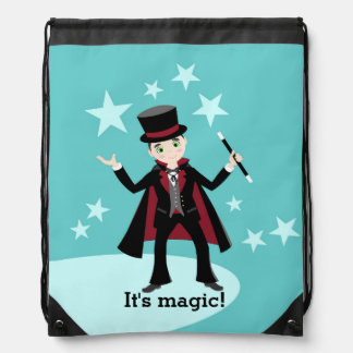 Fiesta de cumpleaños del niño del mago mochilas
