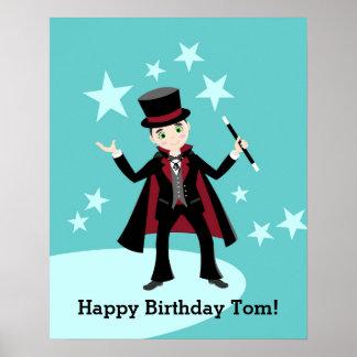 Fiesta de cumpleaños del niño del mago póster