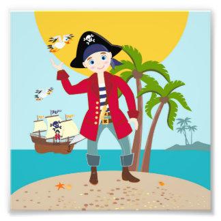 Fiesta de cumpleaños del niño del pirata impresiones fotograficas