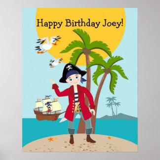 Fiesta de cumpleaños del niño del pirata póster