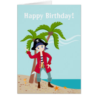 Fiesta de cumpleaños del niño del pirata tarjeta de felicitación
