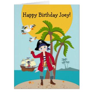 Fiesta de cumpleaños del niño del pirata tarjeta de felicitación grande
