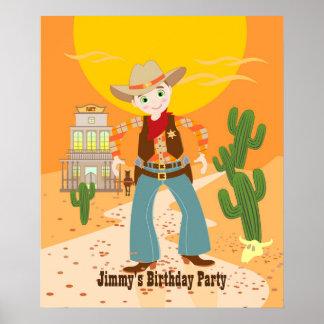 Fiesta de cumpleaños del niño del vaquero póster