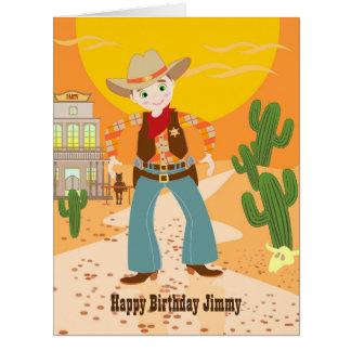 Fiesta de cumpleaños del niño del vaquero tarjeta de felicitación grande