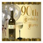 Fiesta de cumpleaños del oro de la botella de copa comunicado