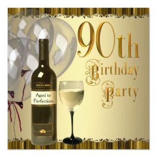 """Fiesta de cumpleaños del oro de la botella de copa invitación 5.25"""" x 5.25"""""""