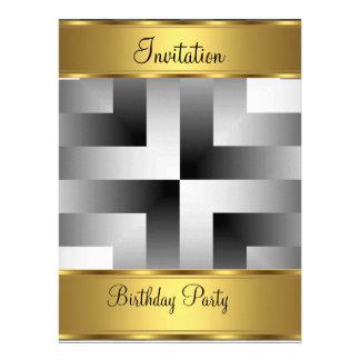 Fiesta de cumpleaños del oro de la invitación de l