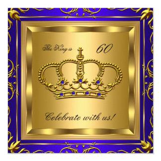 """Fiesta de cumpleaños del oro del azul real del rey invitación 5.25"""" x 5.25"""""""