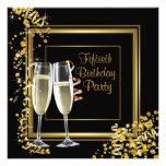 Fiesta de cumpleaños del oro del negro del confeti comunicados