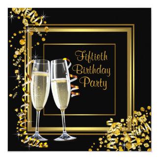 Fiesta de cumpleaños del oro del negro del confeti invitación 13,3 cm x 13,3cm