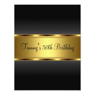 Fiesta de cumpleaños del oro negro de la invitación 10,8 x 13,9 cm