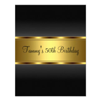 Fiesta de cumpleaños del oro negro de la invitació invitación personalizada