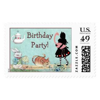 Fiesta de cumpleaños del país de las maravillas de timbres postales
