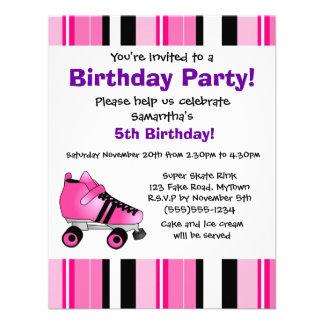 Fiesta de cumpleaños del patín de ruedas de las ro invitaciones personalizada