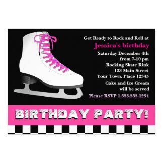 Fiesta de cumpleaños del patinaje de hielo de las comunicado personalizado